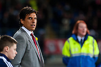Wednesday 05 March 2014<br /> Pictured:Chris Coleman Manager of Wales looks on before the game<br /> Re: International friendly Wales v Iceland at the Cardiff City Stadium, Cardiff,Wales UK