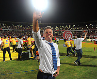 CÚCUTA - COLOMBIA, 26-11-2018:Lucas Pusineri director técnico del Cúcuta Deportivo celebra al ganar el campeonato nacional de futbol de la segunda división  Torneo Águila 2018 al vencer al Unión Magdalena ./Lucas Pusineri coach of Cúcuta Deportivo celebrates by winning National Champions Aguila Tournament 2018 by beating the Union Magdalena .  Photo: VizzorImage / Cristian Álvarez / Contribuidor