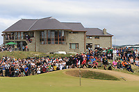 The clubhouse, spectators and the 18th green during Round 4 of the Dubai Duty Free Irish Open at Ballyliffin Golf Club, Donegal on Sunday 8th July 2018.<br /> Picture:  Thos Caffrey / Golffile