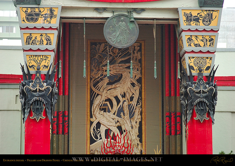 Entrance detail, Pillars and Dragon Panel, Chinese Theatre, Hollywood Boulevard, Hollywood, California
