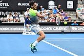 10th January 2018, Sydney Olympic Park Tennis Centre, Sydney, Australia; Sydney International Tennis, round 2; Damir Dzumhur (BIH) hits a forehand in his match against Alex De Minaur (AUS)