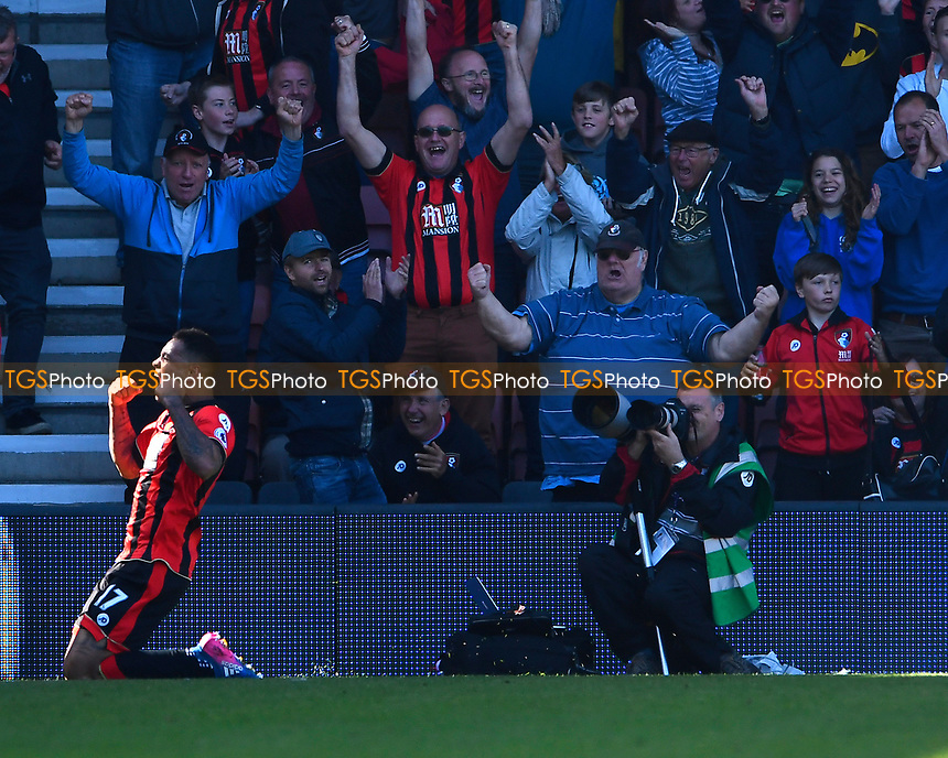 Joshua King of AFC Bournemouth celebrates his goal in front of the home fans during AFC Bournemouth vs Burnley, Premier League Football at the Vitality Stadium on 13th May 2017
