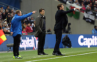Pictured: Michael Laudrup (C) and Phil Parkinson (R). Sunday 24 February 2013<br /> Re: Capital One Cup football final, Swansea v Bradford at the Wembley Stadium in London.