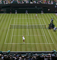 Aliaksandra Sasnovich (BLR) and Simona Halep (ROU) during their Ladies' Singles First Round match<br /> <br /> Photographer Rob Newell/CameraSport<br /> <br /> Wimbledon Lawn Tennis Championships - Day 1 - Monday 1st July 2019 -  All England Lawn Tennis and Croquet Club - Wimbledon - London - England<br /> <br /> World Copyright © 2019 CameraSport. All rights reserved. 43 Linden Ave. Countesthorpe. Leicester. England. LE8 5PG - Tel: +44 (0) 116 277 4147 - admin@camerasport.com - www.camerasport.com