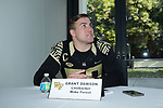Grant Dawson (50) of the Wake Forest Demon Deacons answers questions during Media Day for the 2017 Belk Bowl at the Charlotte Convention Center on December 28, 2017 in Charlotte, North Carolina.  (Brian Westerholt/Sports On Film)