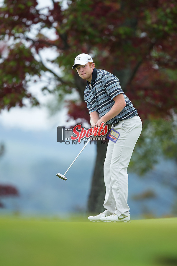 Woody Woodward of the Wake Forest Demon Deacons putt the ball at the 18th green at the Primland Collegiate Invitational at the Primland Resort on September 29, 2014 in Meadows of Dan, Virginia.  (Brian Westerholt/Sports On Film)