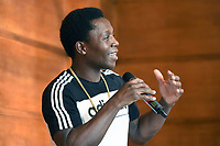 Tunde Ajayi during a Press Conference at the Town Hall & Apartments, Bethnal Green on 9th September 2020