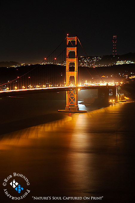 Night image of the South Tower of the Golden Gate Bridge taken from the Marin Headlands