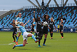 Steph Houghton of Manchester City stretches to connect with a cross during the Women's Champions League, Semi Final 1st leg match at the Academy Stadium, Manchester. Picture date 22nd April 2018. Picture credit should read: Simon Bellis/Sportimage