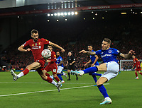 5th January 2020; Anfield, Liverpool, Merseyside, England; English FA Cup Football, Liverpool versus Everton; Lucas Digne of Everton volleys the ball across the Liverpool goalmouth as Nat Phillips of Liverpool attempts to block - Strictly Editorial Use Only. No use with unauthorized audio, video, data, fixture lists, club/league logos or 'live' services. Online in-match use limited to 120 images, no video emulation. No use in betting, games or single club/league/player publications