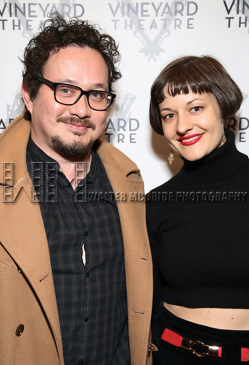 """Michael Braun and Palmer Hefferan attending the Opening Night Performance for The Vineyard Theatre production of  """"Do You Feel Anger?"""" at the Vineyard Theatre on April 2, 2019 in New York City."""