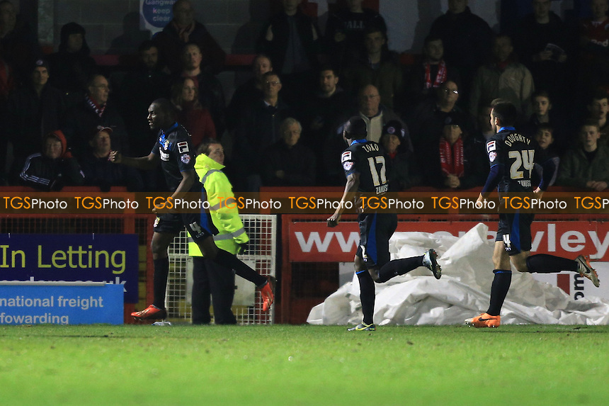 Bira Dembele of Stevenage celebrates the opener - Crawley Town vs Stevenage - Sky Bet League One Football at the Broadwood Stadium, Crawley, West Sussex - 04/03/14 - MANDATORY CREDIT: Simon Roe/TGSPHOTO - Self billing applies where appropriate - 0845 094 6026 - contact@tgsphoto.co.uk - NO UNPAID USE