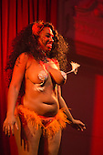 "Friday, 10 May 2013, London, UK. Picture: Honey Cocoa Bordeauxx from Denton, USA, performing ""Walk on By"". Opening Gala of Chaz Royal's London Burlesque Festival 2013, running from 10 to 19 May 2013, Bush Hall, Shepherd's Bush, London."