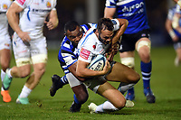 Phil Dollman of Exeter Chiefs is tackled by Semesa Rokoduguni of Bath Rugby. Gallagher Premiership match, between Bath Rugby and Exeter Chiefs on October 5, 2018 at the Recreation Ground in Bath, England. Photo by: Patrick Khachfe / Onside Images