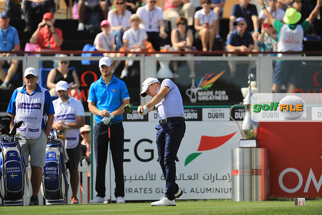 James Morrison (ENG) on the 1st during the final round of the Omega Dubai Desert Classic, Emirates Golf Club, Dubai,  United Arab Emirates. 05/02/2017<br /> Picture: Golffile | Fran Caffrey<br /> <br /> <br /> All photo usage must carry mandatory copyright credit (&copy; Golffile | Fran Caffrey)