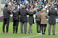 Pictured: One of Gary Speed's sons looks back to Newcastle supporters who applaud in tribute to his late dad. <br /> Re: Newcastle United FC v Swansea City FC at St James' Park, Newcastle Upon Tyne.