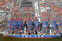 CMA CGA Nevada am Burchardkai: EUROPA, DEUTSCHLAND, HAMBURG, (EUROPE, GERMANY), 05.06.2015 CMA CGA Nevada Containerschiff am Burchardkai
