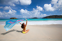 Natalie at Cinnamon Bay.Virgin Islands National Park.St. John.U.S. Virgin Islands