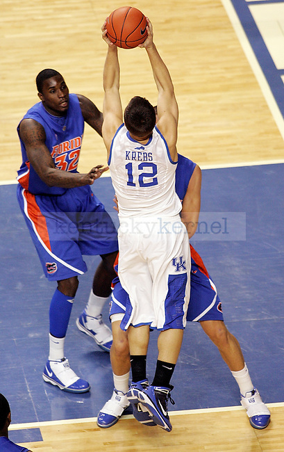 Senior guard Mark Krebs shoots a lay up in the first half of UK's win over Florida at Rupp Arena on Sunday, March 7, 2010. Photo by Britney McIntosh | Staff