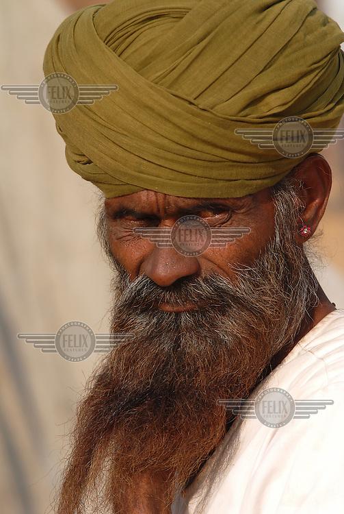 A Rajasthani trader with a magnificent beard at the annual Pushkar Fair (Pushkar Mela).