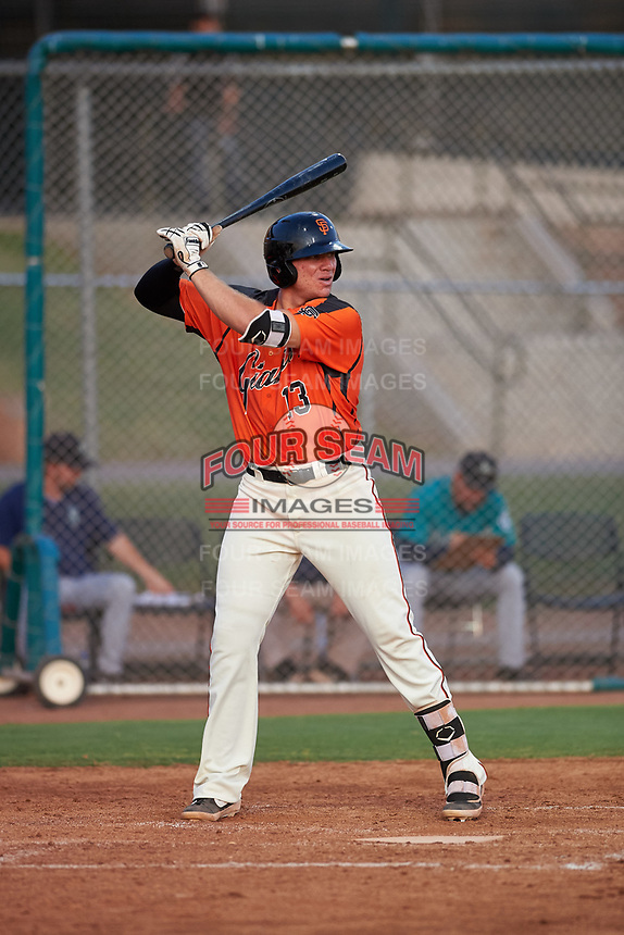AZL Giants Orange Connor Cannon (13) at bat during an Arizona League game against the AZL Mariners on July 18, 2019 at the Giants Baseball Complex in Scottsdale, Arizona. The AZL Giants Orange defeated the AZL Mariners 7-4. (Zachary Lucy/Four Seam Images)