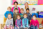 Mary Brosnan (Principal), Gail Kelly (Class Teacher) with the class of Junior Infants at Tralee Educate Together National School, Tralee on Thursday.<br /> Front row: Wiktoria Norawska, Carmella Garcia, Selena Garcia, Clodagh Hunt<br /> Middle Row: Ben Walsh, Sam Zazai, Raik Weber, Andrew Djamen