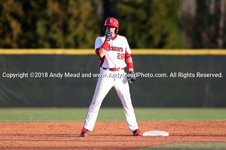 CARY, NC - FEBRUARY 23: Saint John's Luke Stampfl. The Monmouth University Hawks played the Saint John's University Red Storm on February 23, 2018 on Field 2 at the USA Baseball National Training Complex in Cary, NC in a Division I College Baseball game. St John's won the game 3-0.