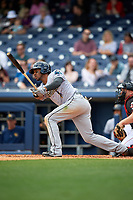 New Orleans Baby Cakes left fielder Destin Hood (1) follows through on a swing during a game against the Nashville Sounds on May 1, 2017 at First Tennessee Park in Nashville, Tennessee.  Nashville defeated New Orleans 6-4.  (Mike Janes/Four Seam Images)