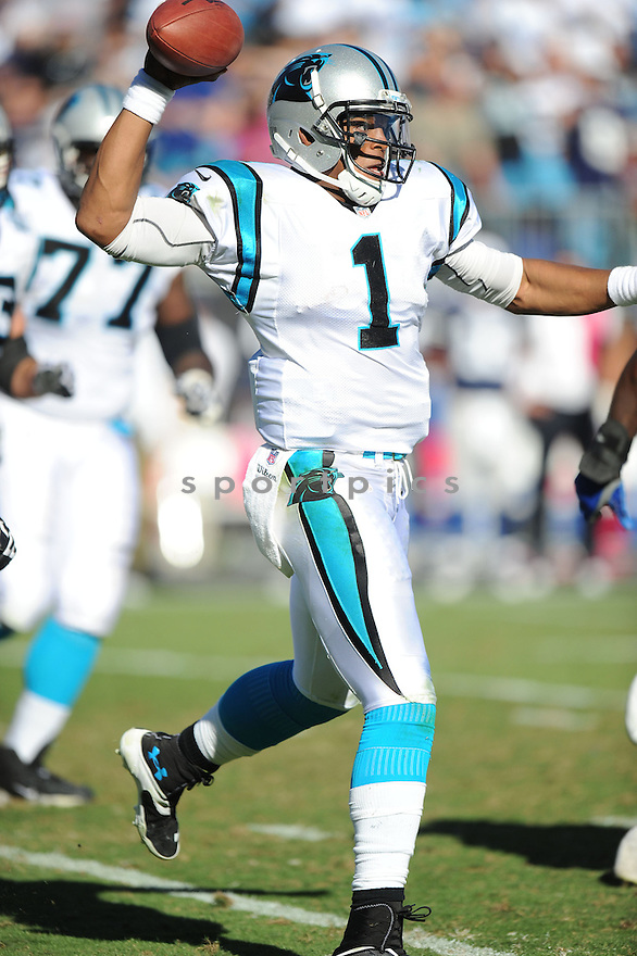 Carolina Panthers Cam Newton (1) in action during a game against the Cowboys on October 21, 2012 at Bank of America Stadium in Charlotte, NC. The Cowboys beat the Panthers 19-14.