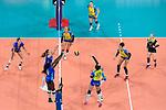 24.02.2019, SAP Arena, Mannheim<br /> Volleyball, DVV-Pokal Finale, SSC Palmberg Schwerin vs. Allianz MTV Stuttgart<br /> <br /> Block / Doppelblock Mallory Grace McCage (#5 Stuttgart), Krystal Rivers (#13 Stuttgart) - Angriff Mckenzie Adams (#13 Schwerin)<br /> <br />   Foto © nordphoto / Kurth
