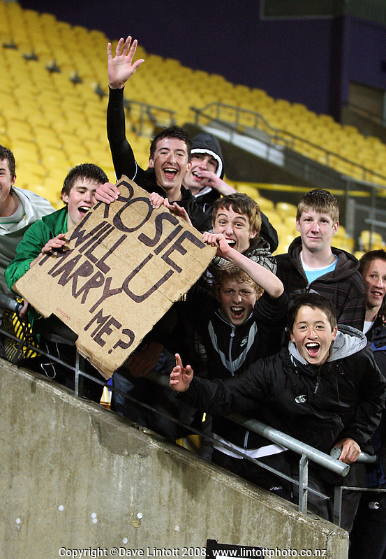 NZ fans celebrate during the FIFA Women's Under-17 World Cup pool match between New Zealand and Columbia at Westpac Stadium, Wellington, New Zealand on Tuesday, 4 November 2008. Photo: Dave Lintott / lintottphoto.co.nz