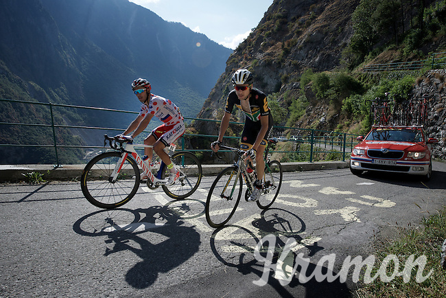 Joaquim Rodriguez (ESP/Katusha) &amp; Jaques Janse van Rensburg (RSA/MTN-Qhubeka) up the Lacets de Montvernier (2C/782m/3.4km, 8.2%)<br /> <br /> stage 18: Gap - St-Jean-de-Maurienne (187km)<br /> 2015 Tour de France