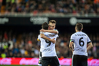 VALENCIA, SPAIN - MARCH 6: Cheryshev, Paco Alcacer celebrating a goal during BBVA League match between Valencia C.F. and Athletico de Madrid at Mestalla Stadium on March 6, 2015 in Valencia, Spain