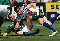 31 May 2009: Chris Wyles of USA is tackled by Ireland defender during the Rugby game at Buck Shaw Stadium in Santa Clara, California.   Ireland defeated USA, 27-10.