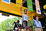 Polka Dot Jersey holder Fabio Aru (ITA) Astana at sign on before Stage 8 of the 104th edition of the Tour de France 2017, running 187.5km from Dole to Station des Rousses, France. 8th July 2017.<br /> Picture: ASO/Pauline Ballet | Cyclefile<br /> <br /> <br /> All photos usage must carry mandatory copyright credit (&copy; Cyclefile | ASO/Pauline Ballet)