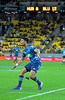 Blues kicker Otere Black kicks a sideline conversion during the Super Rugby match between the Hurricanes and Blues at Sky Stadium in Wellington, New Zealand on Saturday, 7 March 2020. Photo: Dave Lintott / lintottphoto.co.nz