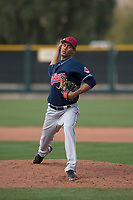 Cleveland Indians relief pitcher Angel Santos (26) during a Minor League Spring Training game against the San Francisco Giants at the San Francisco Giants Training Complex on March 14, 2018 in Scottsdale, Arizona. (Zachary Lucy/Four Seam Images)