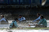 PUTNEY, LONDON, ENGLAND, 05.03.2006, CUBC; Cambridge [foreground]; stroke Kip McDaniel and cox Peter Rudge; Pre 2006 Boat Race Fixtures,.   © Peter Spurrier/Intersport-images.com[Mandatory Credit Peter Spurrier/ Intersport Images] Varsity Boat Race, Rowing Course: River Thames, Championship course, Putney to Mortlake 4.25 Miles