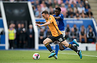 Diogo Jota of Wolves & Wilfred Ndidi of Leicester City during the Premier League match between Leicester City and Wolverhampton Wanderers at the King Power Stadium, Leicester, England on 10 August 2019. Photo by Andy Rowland.
