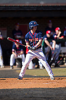 Mike Marcinko (2) of the Shippensburg Raiders at bat against the Belmont Abbey Crusaders at Abbey Yard on February 8, 2015 in Belmont, North Carolina.  The Raiders defeated the Crusaders 14-0.  (Brian Westerholt/Four Seam Images)