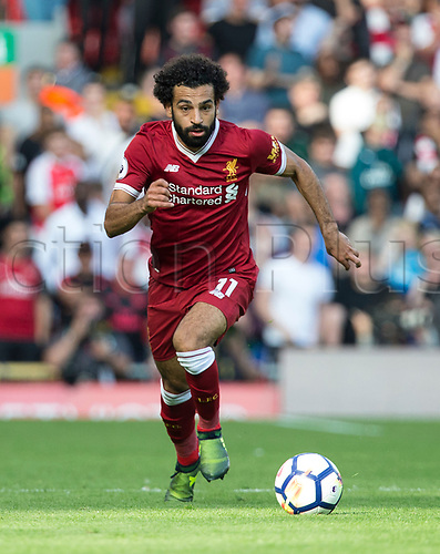 27th August 2017, Anfield, Liverpool, England; EPL Premier League football, Liverpool versus Arsenal; Mohammed Salah of Liverpool races down the wing with the ball