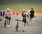 MIDDLEBURY,  CT-061717JS07- Participants make their way out to the roads with their bikes during the Pat Griskus Triathlon Olympics race Saturday at Quassy Amusement Park in Middletown. <br /> Jim Shannon Republican-American