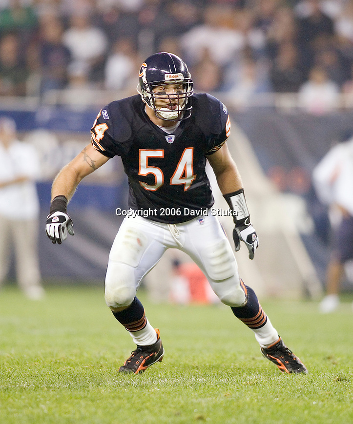 Linebacker Brian Urlacher #54 of the Chicago Bears plays defense during an NFL football game against  the San Diego Chargers at Soldier Field on August 18, 2006 in Chicago, Illinois. The Bears defeated the Chargers 23-3. (Photo by David Stluka)