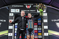 Picture by Simon WilkinsonSWpix.com 11/05/2017 - Cycling - Tour Series Round 2 - Matrix Fitness Womens Race Stoke, Stoke-on-Trent, England - Drops Cycling's Rebecca Durrell wins the Eisbergwine Sprint jersey at the Tour Series Matrix Fitness Womens Race in Stoke.