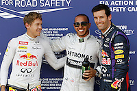 NÜRBURG, ALEMANHA, 06.07.2013 - F1 - TREINO CLASSIFICATÓRIO GP ALEMANHA - E/D Sebastian Vettel, Lewis Hamilton e Mark Webber após treino classificatorio para p Grande Premio da Alemanha de Formula 1 em Nürburg na Alemanha, neste sábado, 06. (Foto: Lukas Gorys / Pixathlon / Brazil Photo Press)