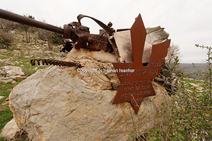 The Golan Heights. A memorial for a fallen pilot on Mount Hermon