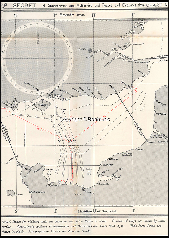 BNPS.co.uk (01202 558833)<br /> Pic: Bonhams/BNPS<br /> <br /> The routes for the Gooseberries and Mulberries units.<br /> <br /> Top secret orders for the Allied invasion of Europe that should have been burned after reading have emerged for sale 72 years later.<br /> <br /> The rarely-seen documents include codenames, folding charts and instructions for the assault forces before and after the Normandy landings on June 6, 1944 - D-Day.<br /> <br /> The papers relate to Operation Neptune, the naval stage of the invasion that involved 6,000 ships laden with troops and armour crossing the English Channel in the hours before the landings.<br /> <br /> They are being sold by Bonhams on June 15 and expected to fetch £5,000.