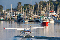 Bush plane in Sitka Channel, Thomsen Harbor in Sitka, Baranof Island, Southeast Alaska panhandle.