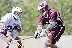 Los Angeles, CA 03/20/10 - Franklin Connell (Arizona # 22) and Greg Sharron (LMU # 18) in action during the Arizona-Loyola Marymount University MCLA game at Leavey Field (LMU).  LMU defeated Arizona 13-6.