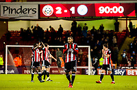 Sheffield United's forward Leon Clarke (9) leads the applause to Sheffield United's Kop during the Sky Bet Championship match between Sheff United and Queens Park Rangers at Bramall Lane, Sheffield, England on 20 February 2018. Photo by Stephen Buckley / PRiME Media Images.
